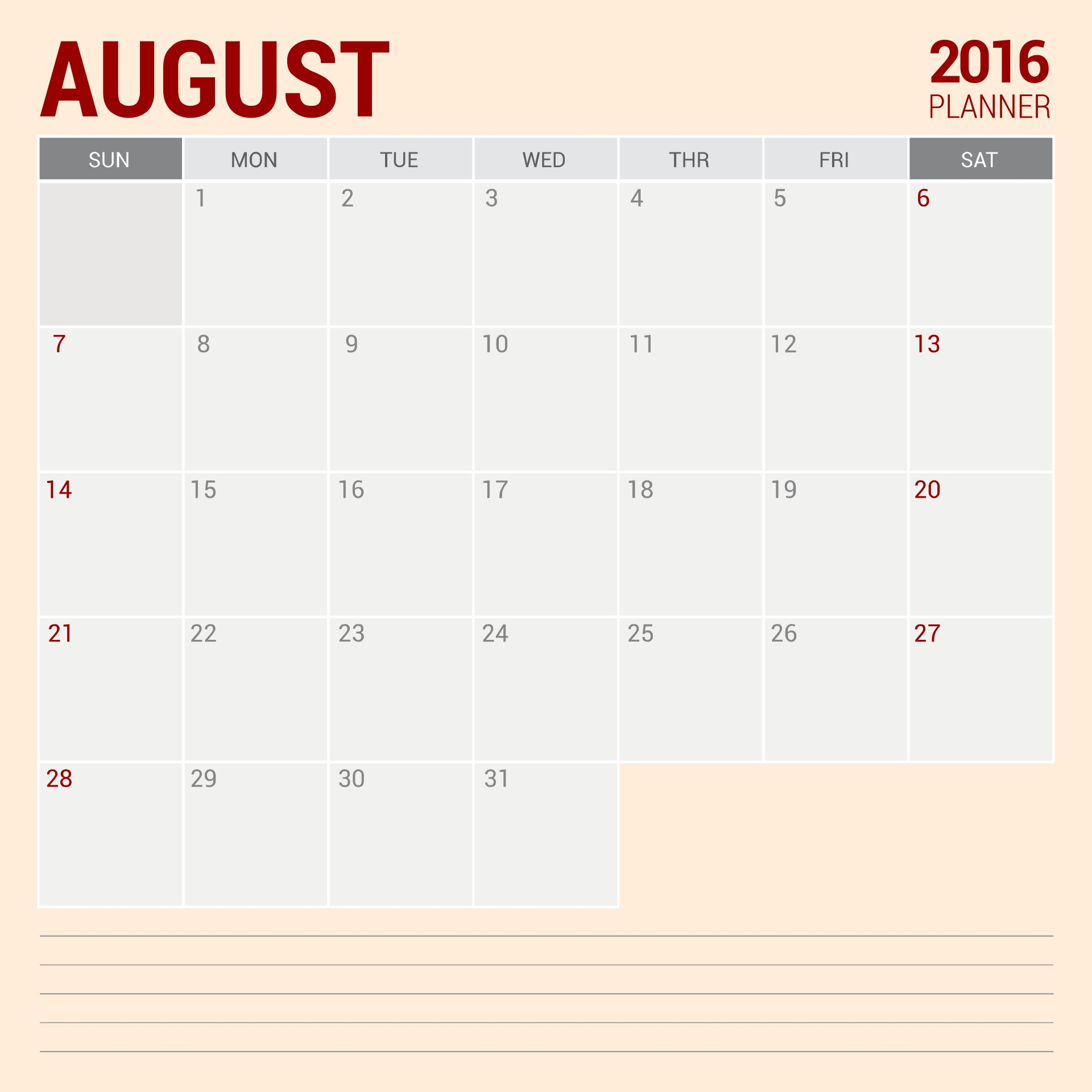 2016 Printable Weekly Planner Pages
