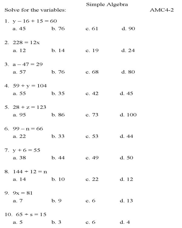 Algebra homework sheets – Math Worksheets for Grade 7 Algebra