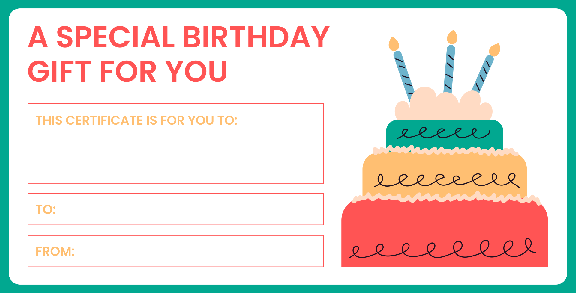 Birthday Certificate Gift Voucher Template Free