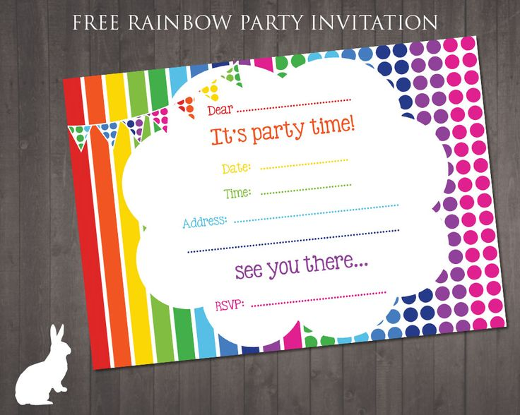 9 Images of Free Rainbow Printable Party Invitations