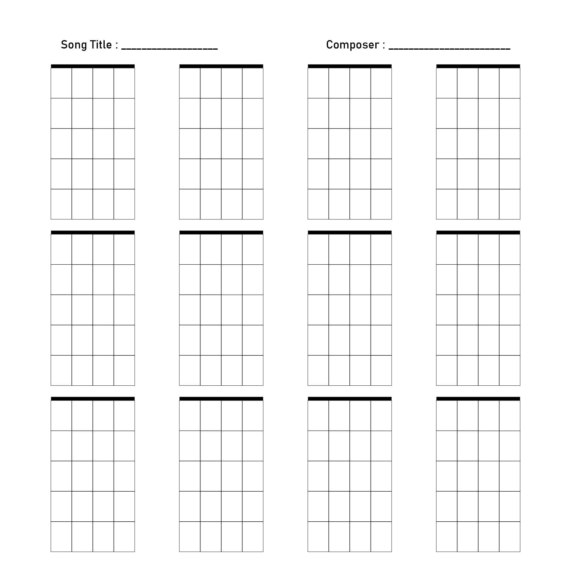 Blank Ukulele Chord Boxes