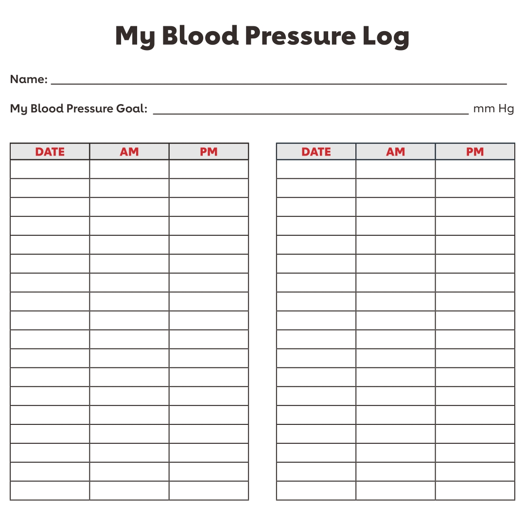 Chart Blood Pressure Log Sheet
