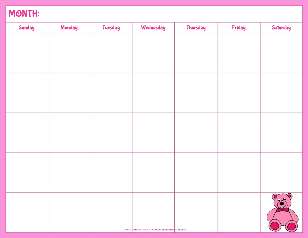 Cute Calendar Printable : Best images of cute printable blank calendar