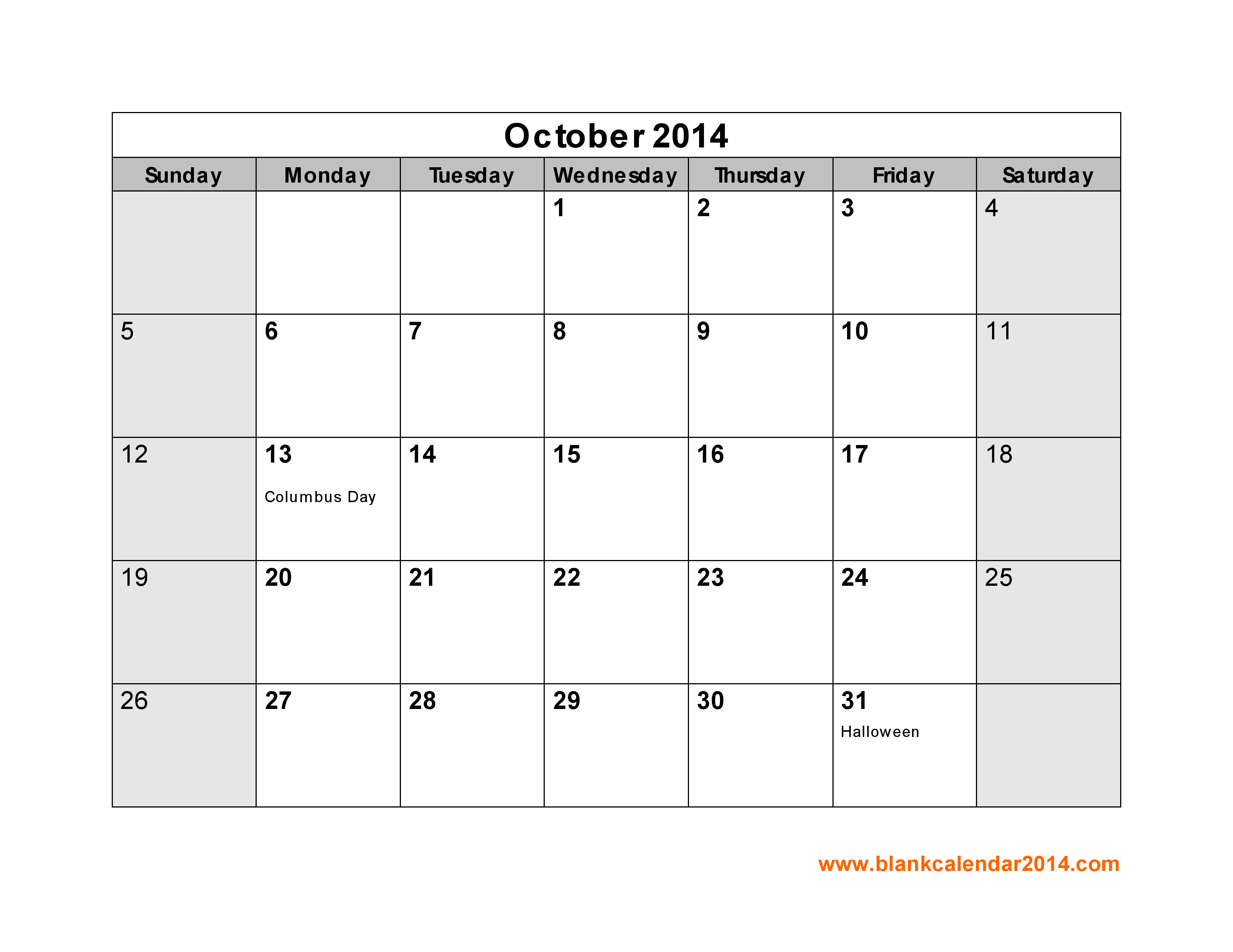 5 Images of October 2014 Calendar Printable Template