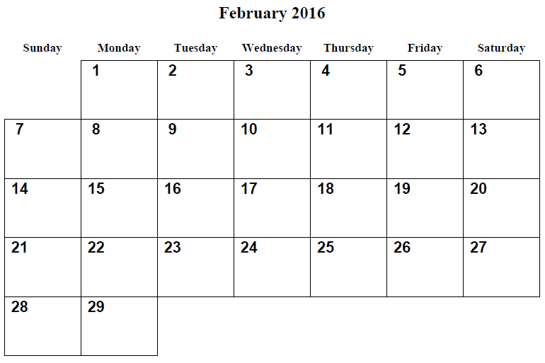 9 Images of February 2016 Printable Planner