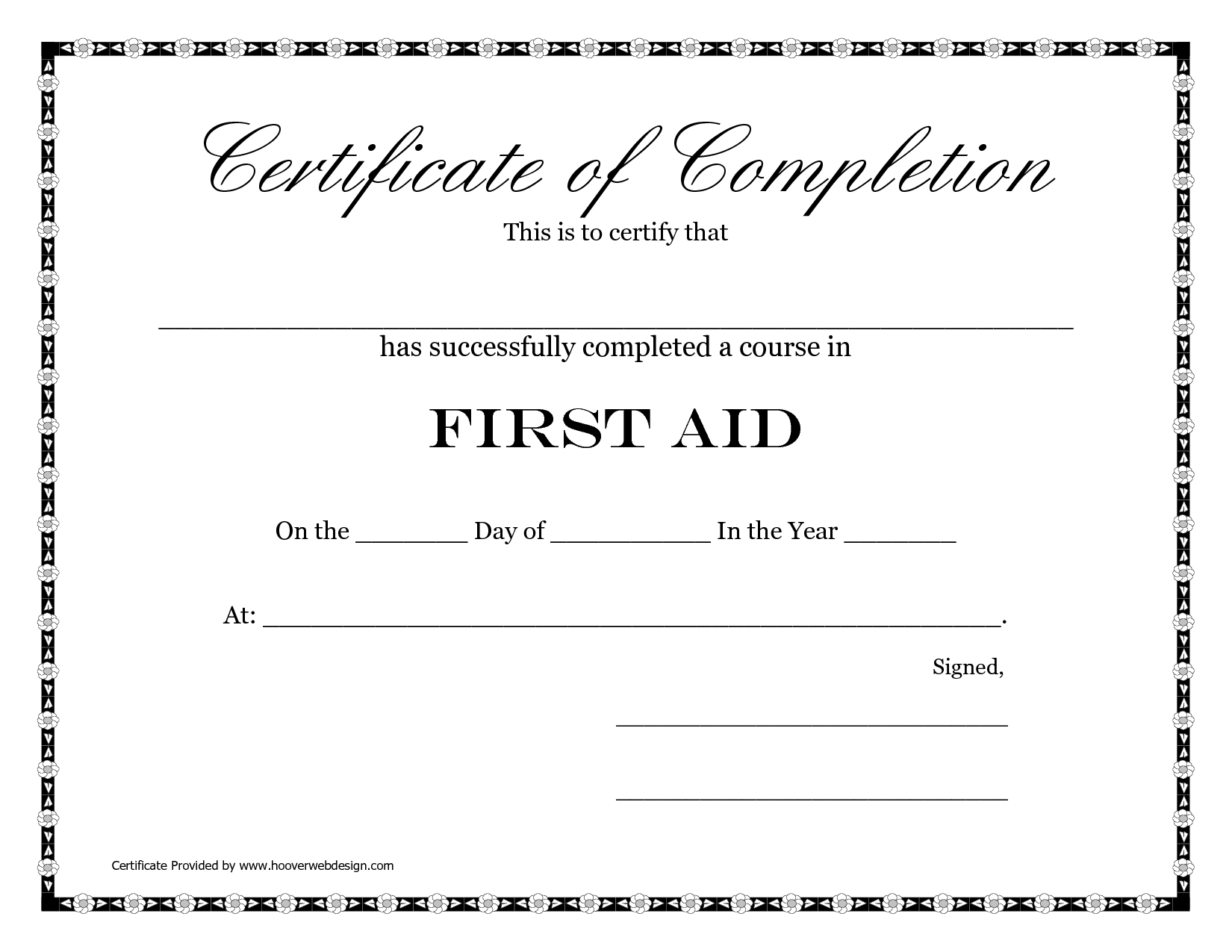 4 Images of Free Printable First Aid Certificate