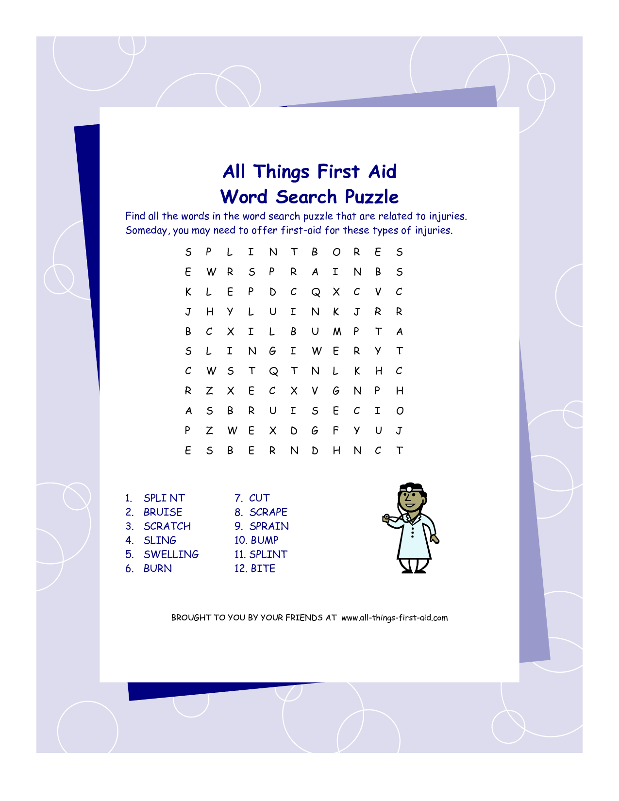 4 Images of First Aid Word Search Printable