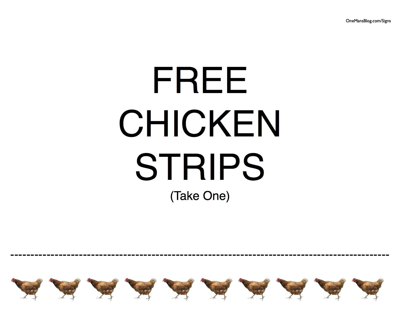 Free Funny Chicken Strips Sign