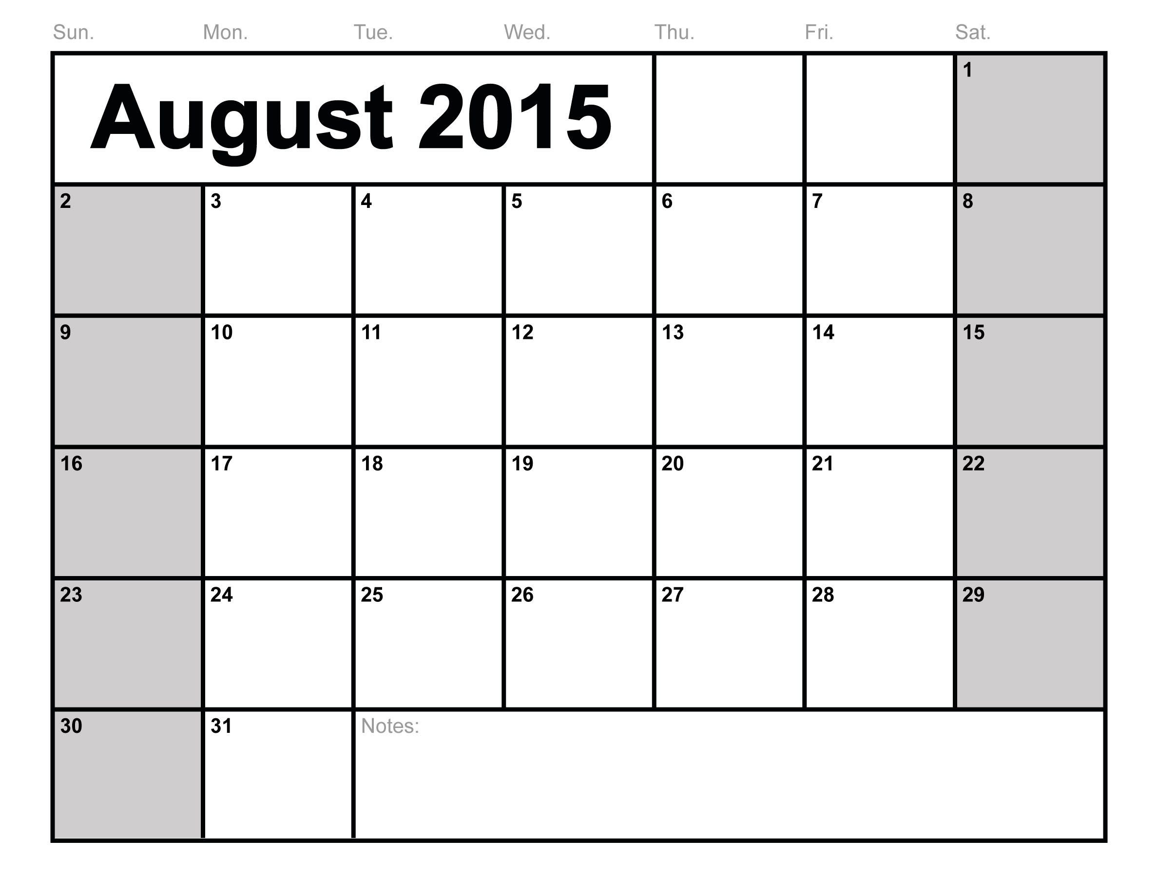 7 Images of August 2015 Monthly Calendar Printable
