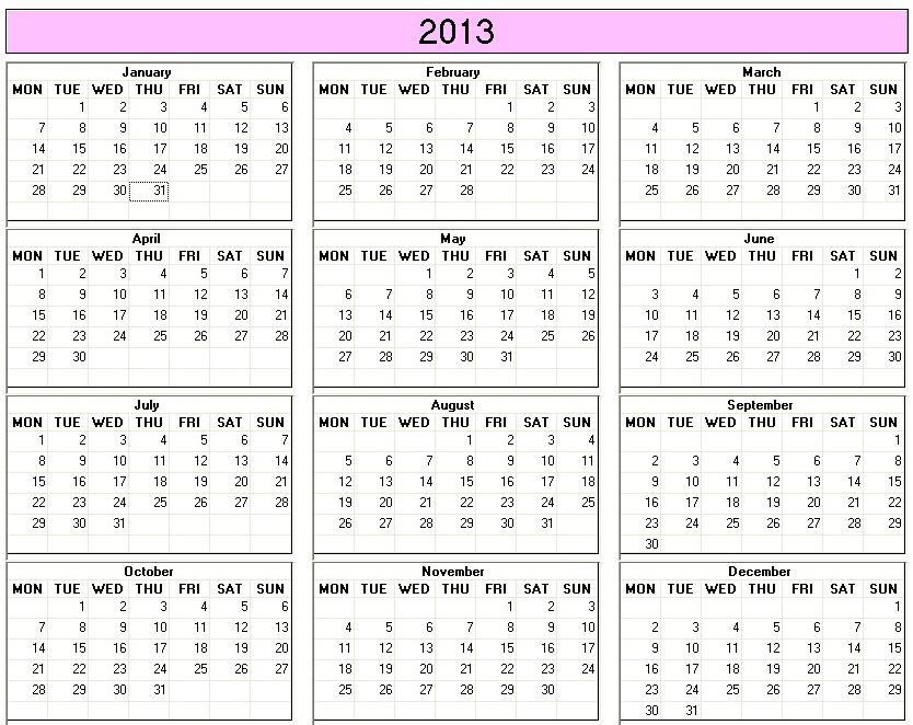 Year Calendar Numbers Template : Best images of week calendar printable