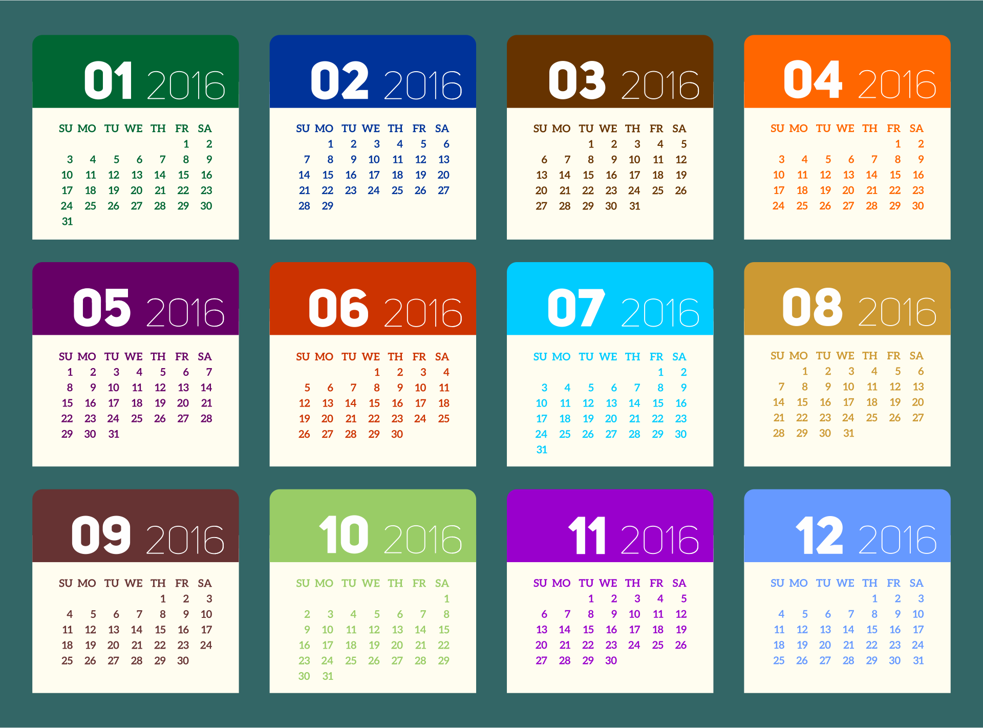 Printable 2016 Monthly Calendar Pages