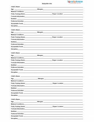 7 Images of Free Printable Baby Sitter Forms