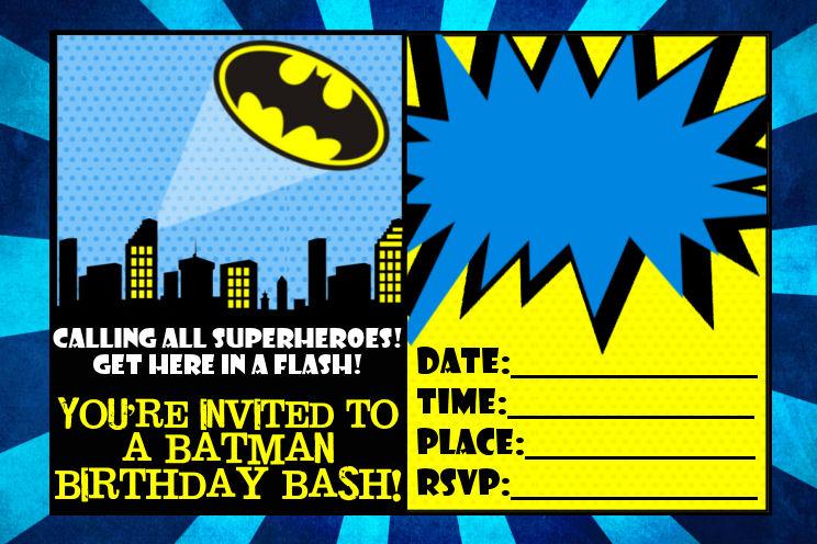 Free Printable Batman Birthday Party Invitations