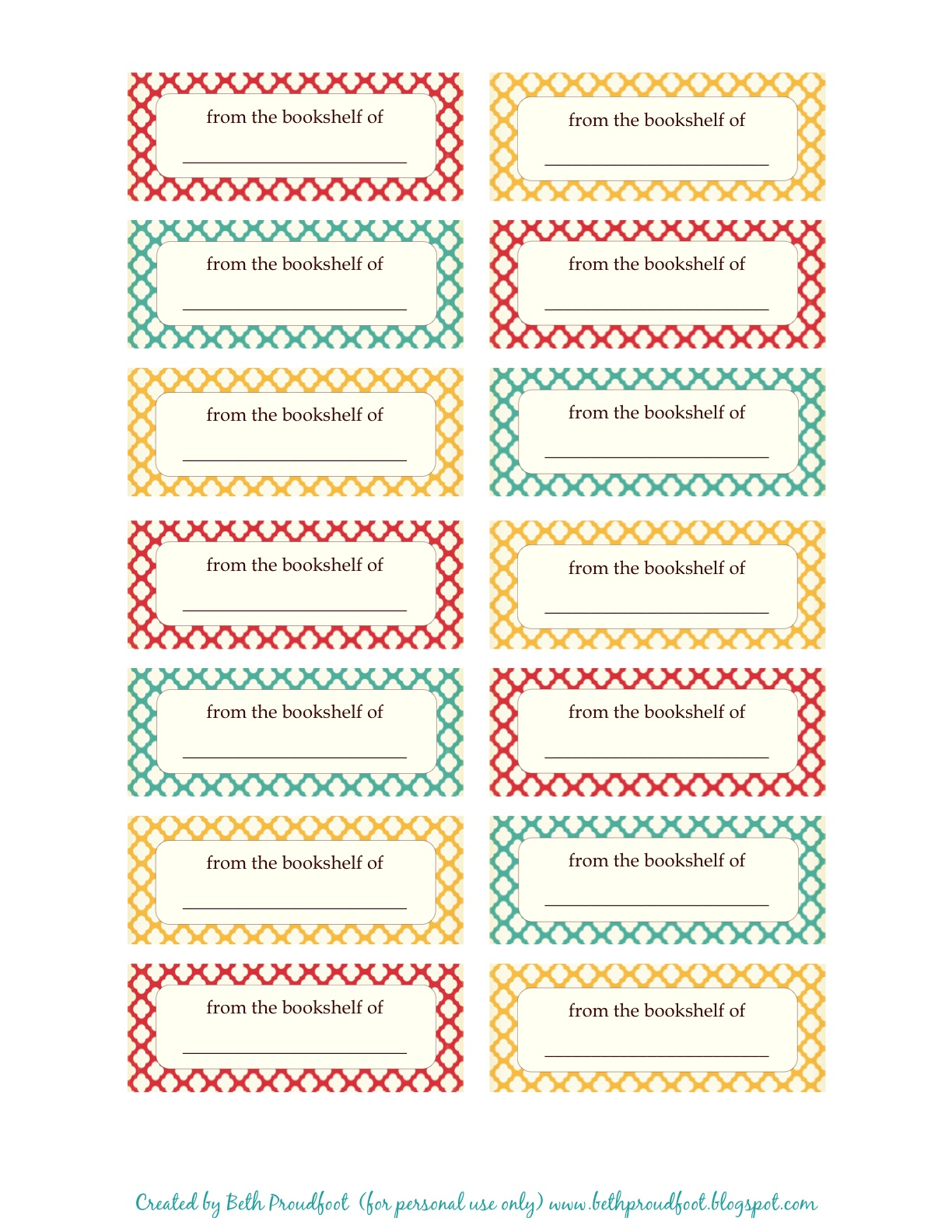 Free Printable Book Labels