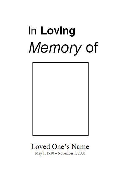 4 best images of free printable obituary templates for Free printable funeral program template
