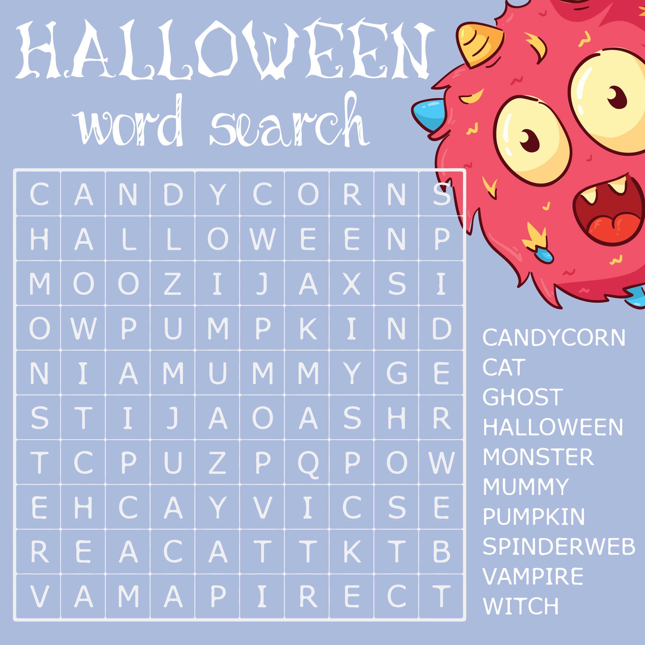 Printable Halloween Word Search Game