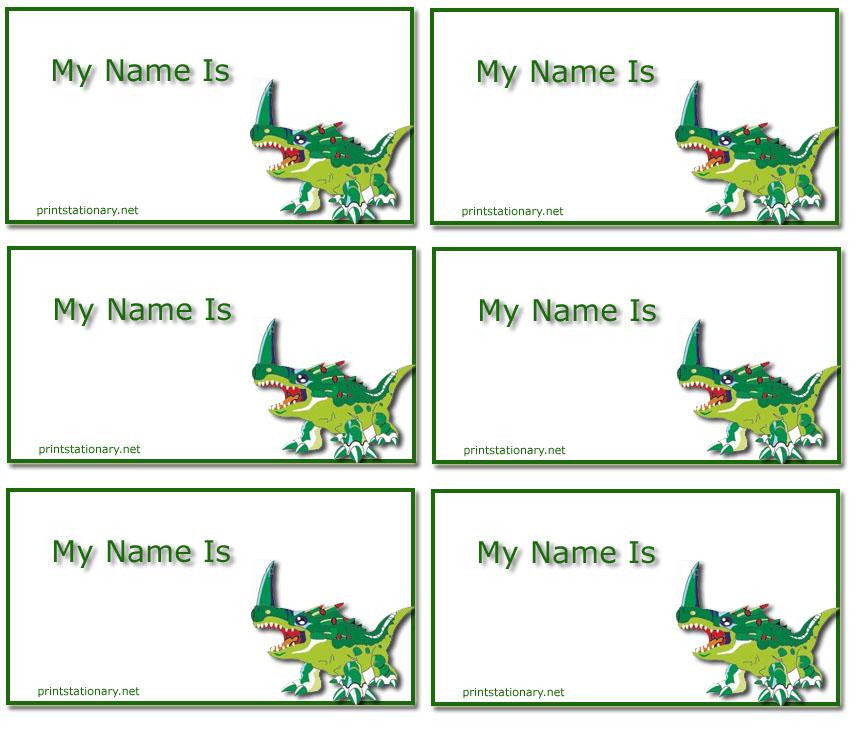 7 Images of Free Printable Dinosaur Name Tag