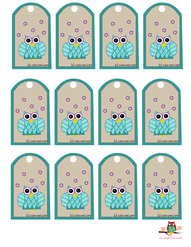 5 Images of Printable Owl Tags