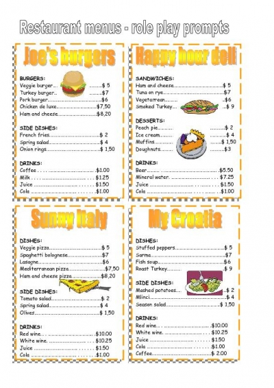 Free Printable Restaurant Menus