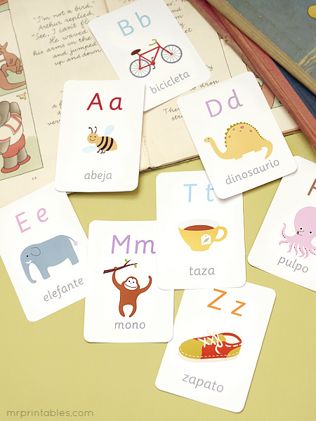 6 Images of Printable Spanish Alphabet Flash Cards