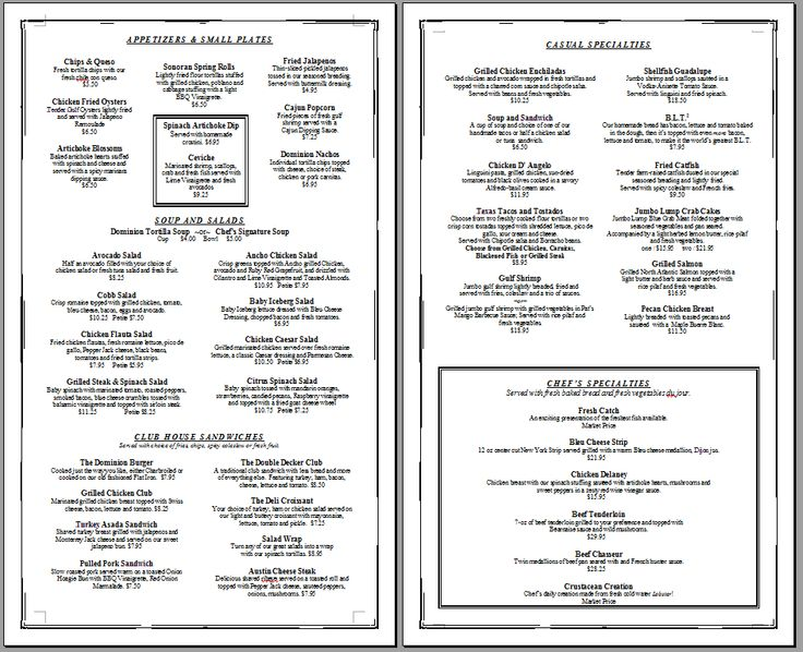 4 Images of Printable Restaurant Menus