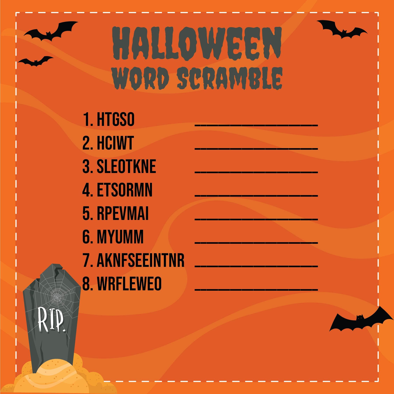 Halloween Word Scramble Puzzles