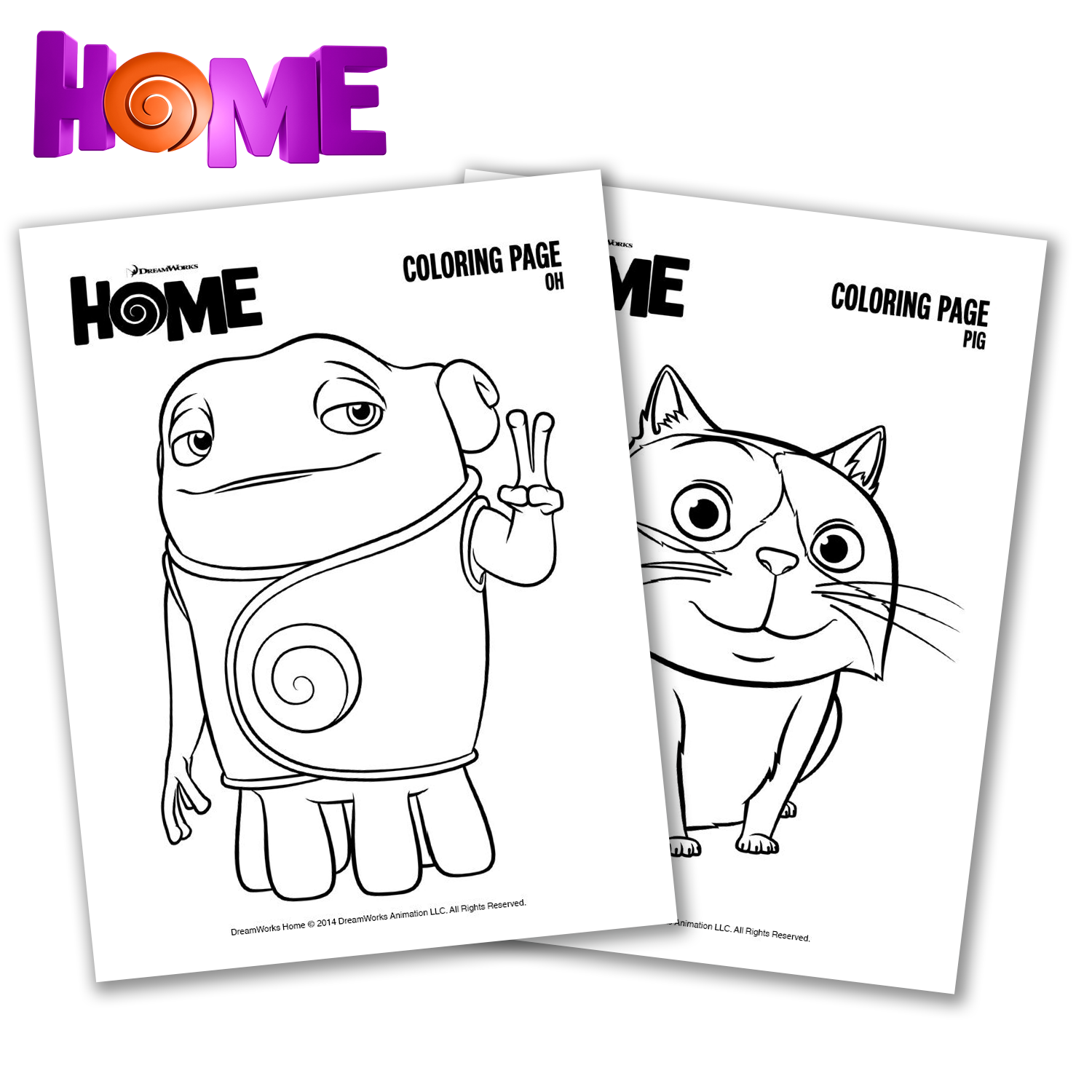 4 Images of Home From The Movie Coloring Pages Printable