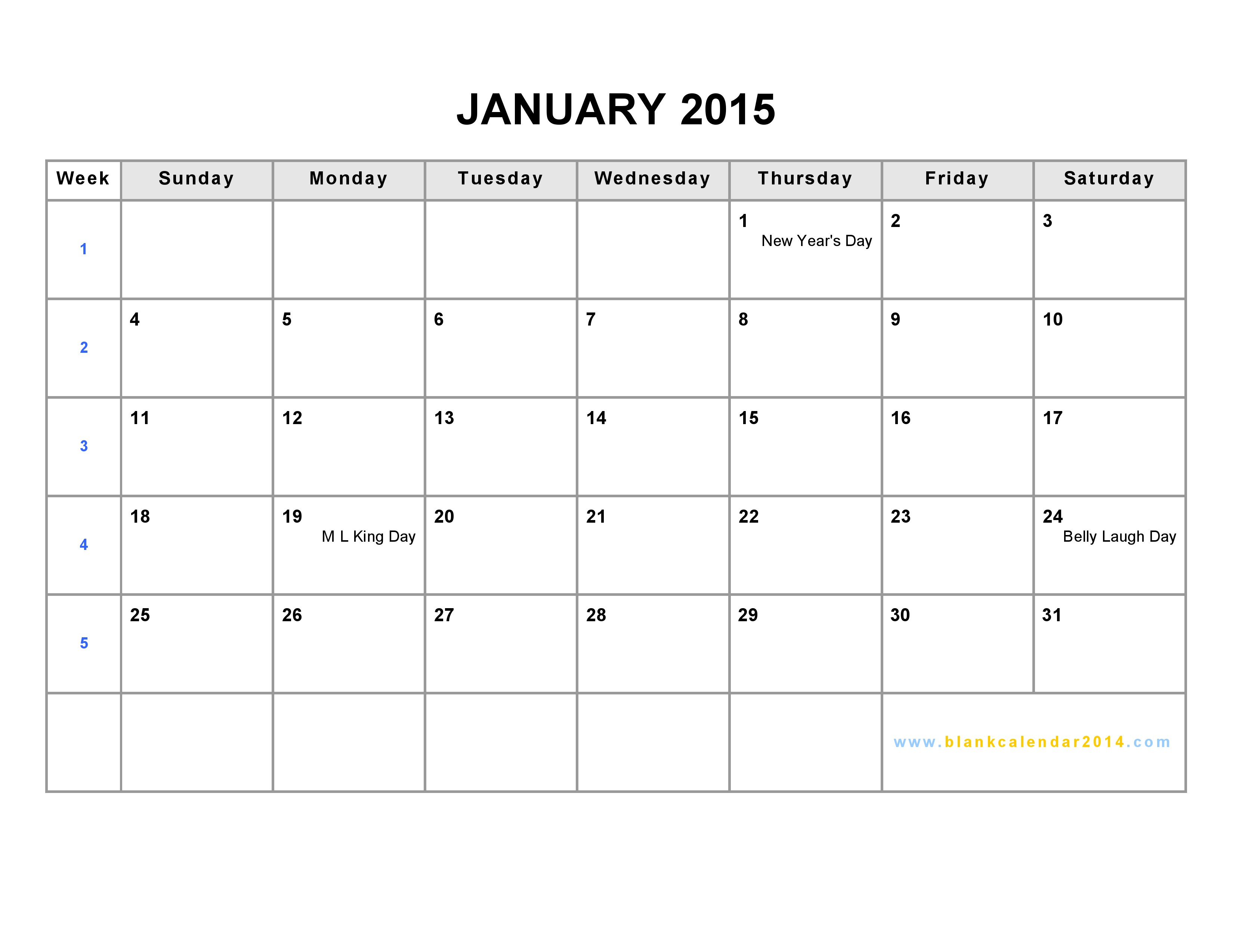 Blank Weekly Calendar January : Best images of calendar printable blank chart