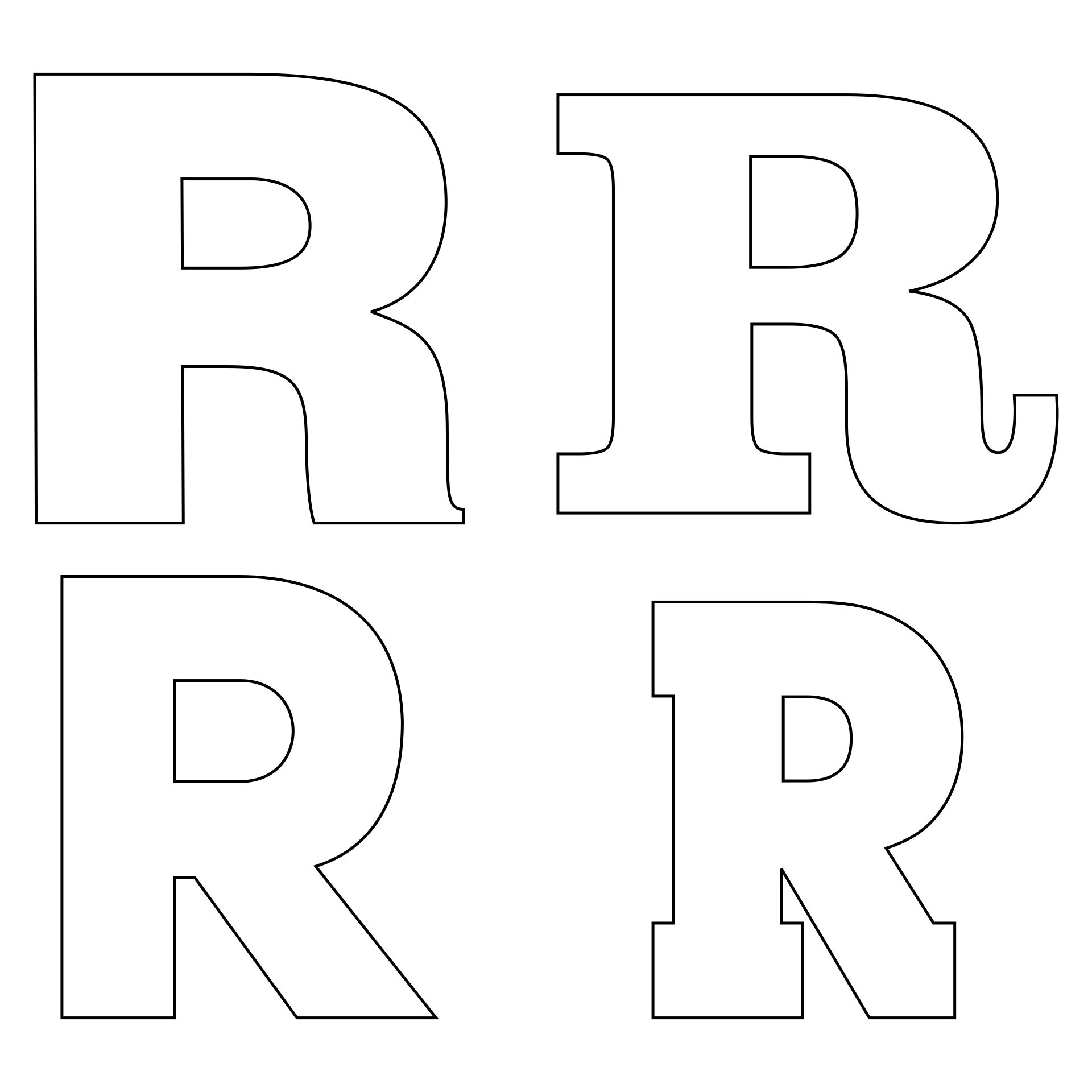 Letter R Outline Template