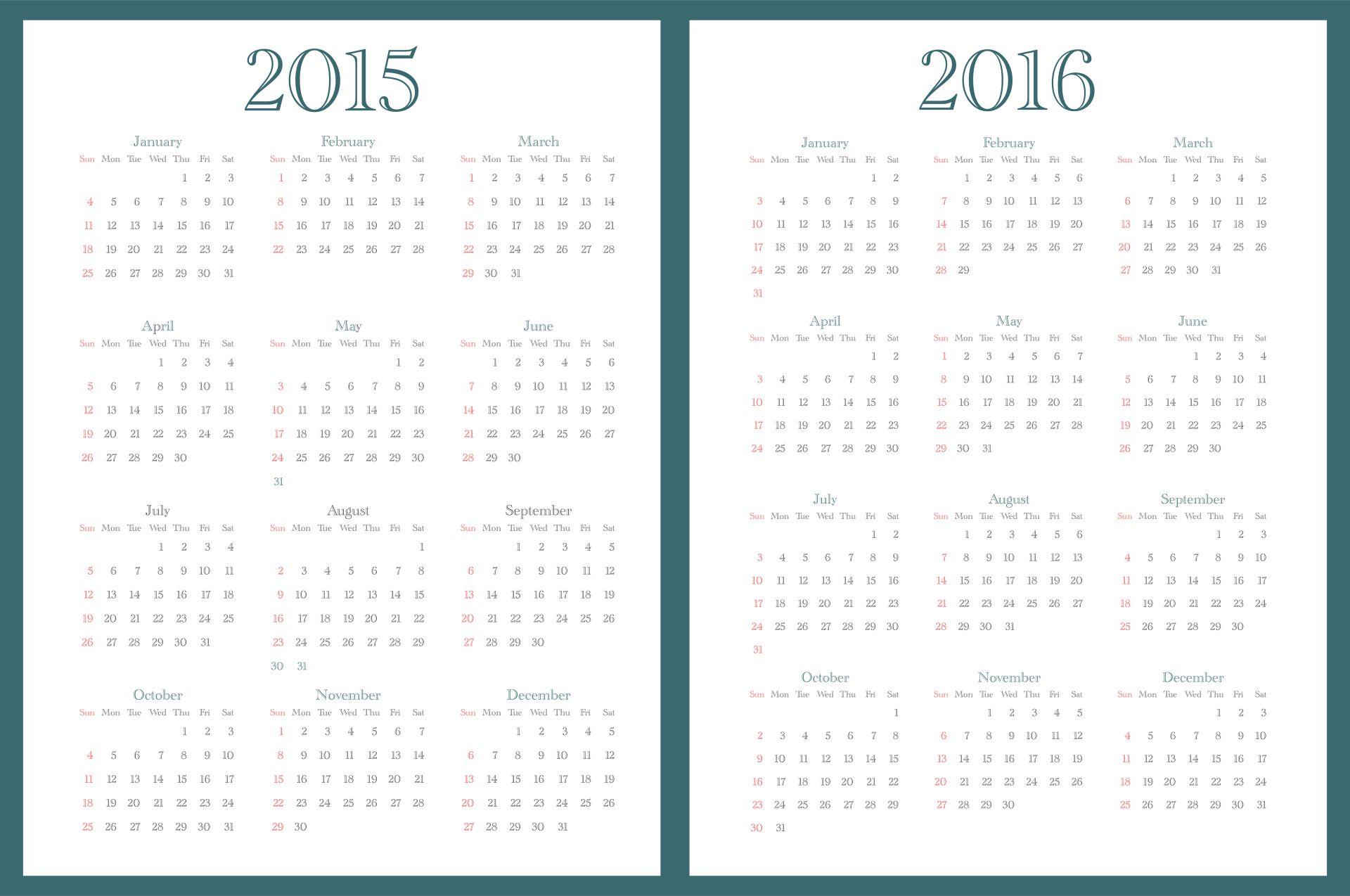 Monthly Calendar 2015 2016 Printables Planner