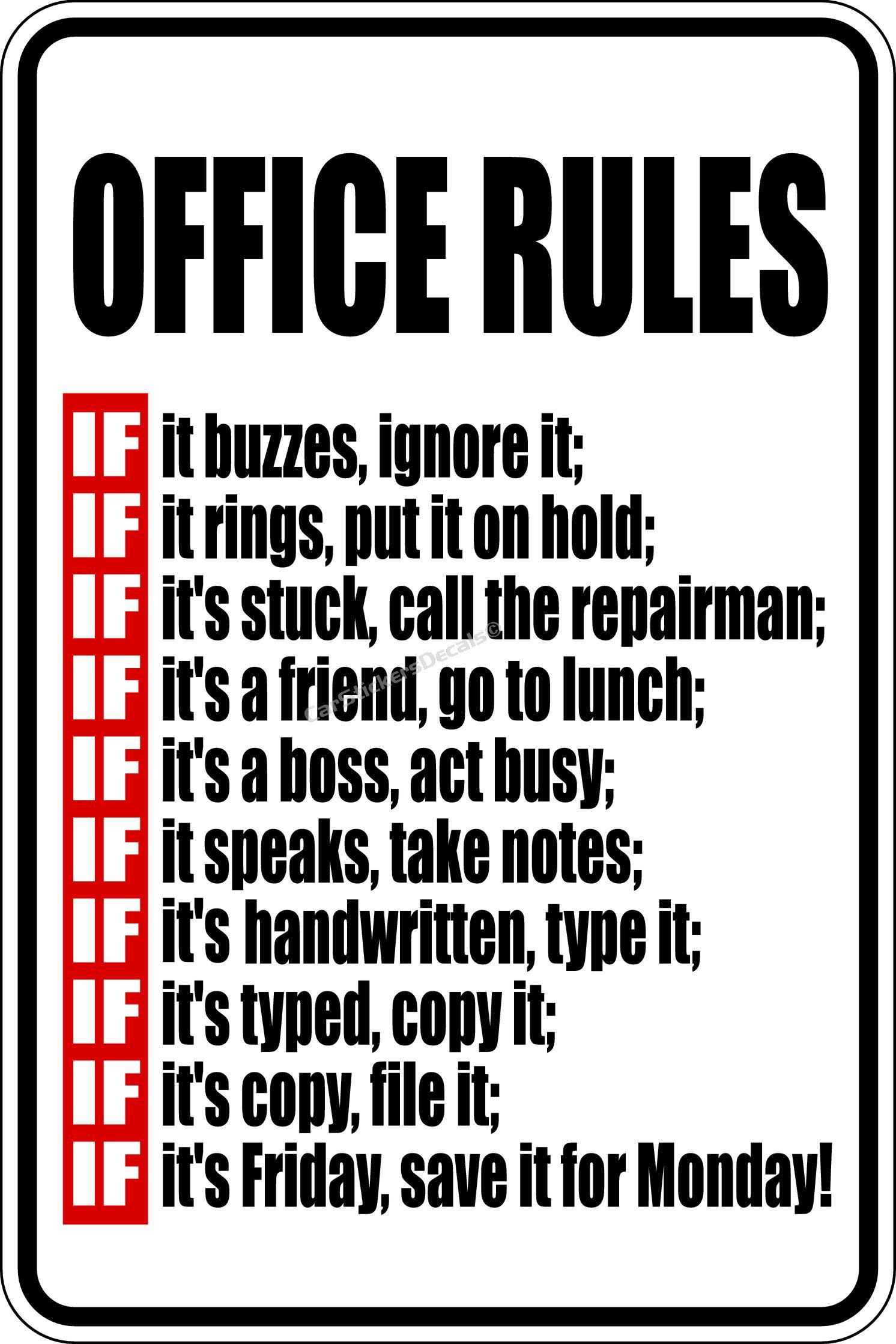 Office Kitchen Rules Sign