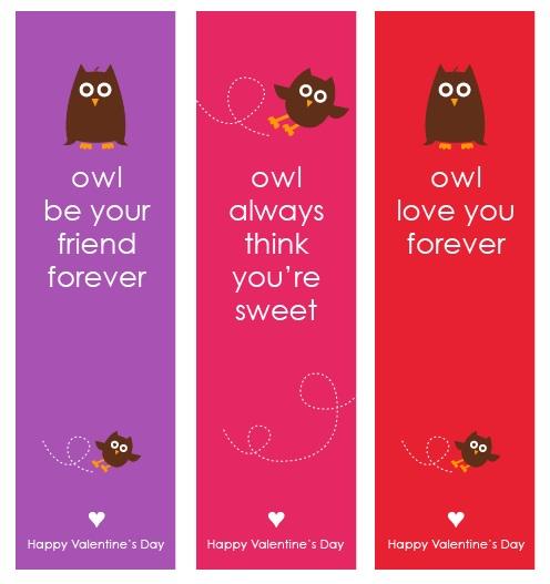Owl Valentine's Bookmark Printables Free