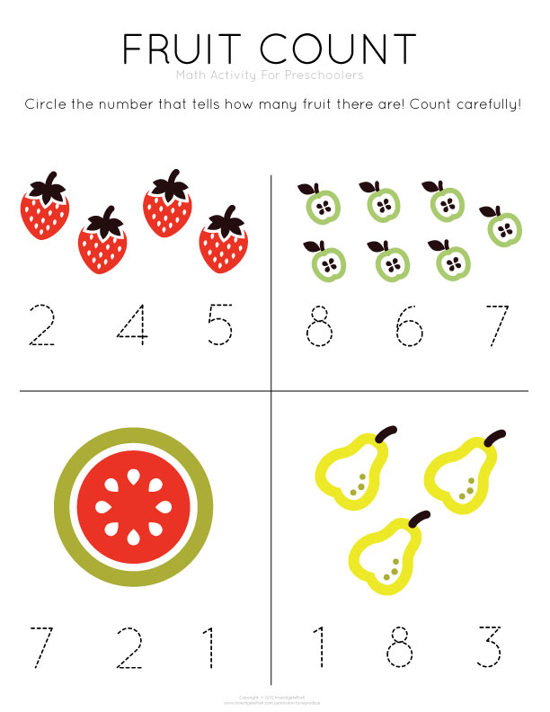 Free Printable Pre K Math Worksheets : Best images of preschool math counting worksheet