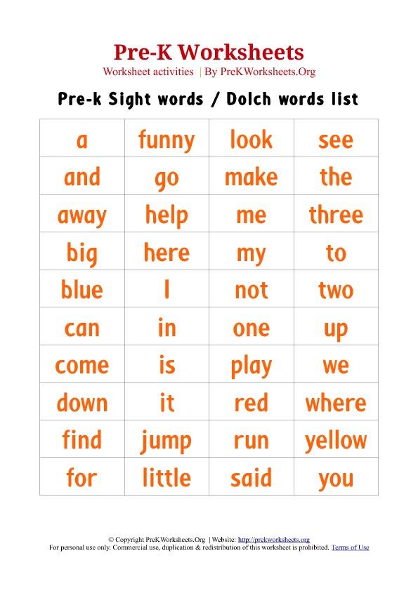 6 Best Images of Free Printable Pre-K Sight Words Worksheets - Pre ...