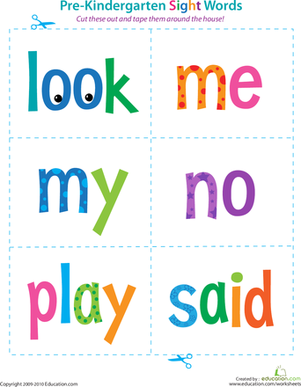 math worksheet : 6 best images of free printable pre k sight words worksheets  pre  : Free Printable Worksheets For Kindergarten Sight Words