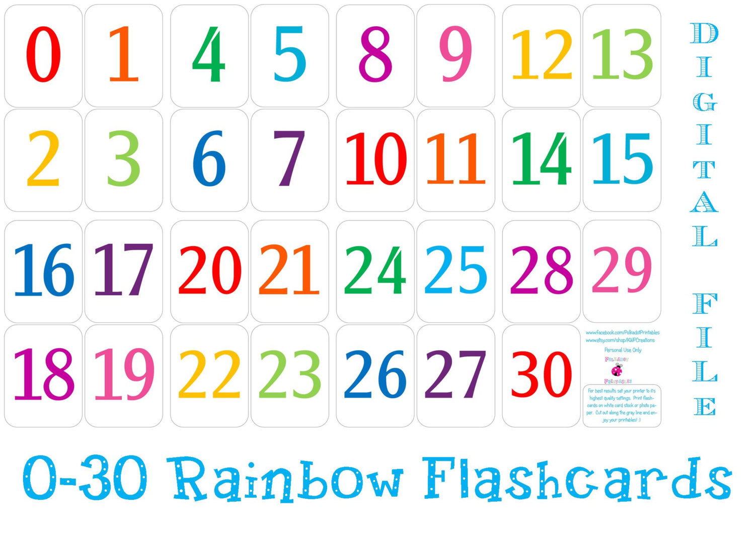 8 Images of Colorful Printable Numbers 1-31