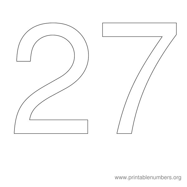 8 Images of Printable Number 27