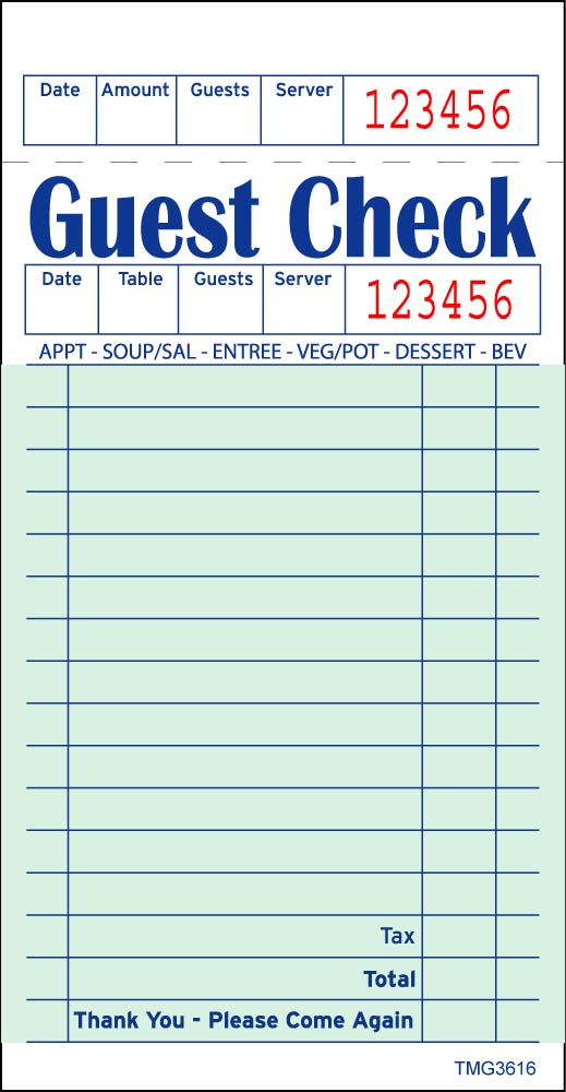 6 best images of printable guest checks for restaurants With restaurant guest check template