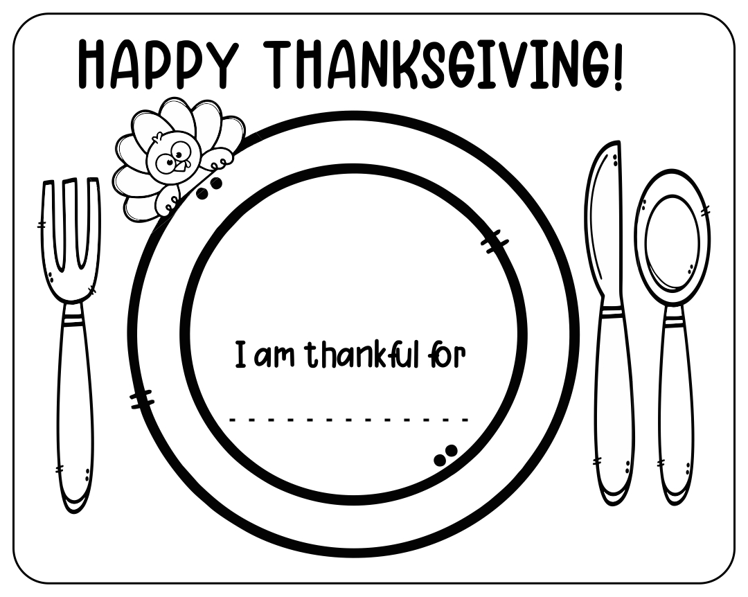 Printable Thanksgiving Place Setting Placemat