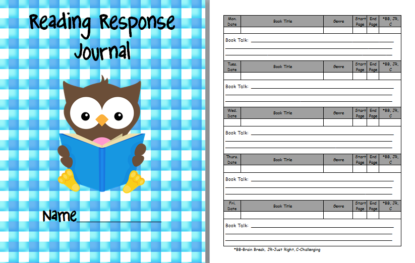 8 Images of Printable Reading Response Journal