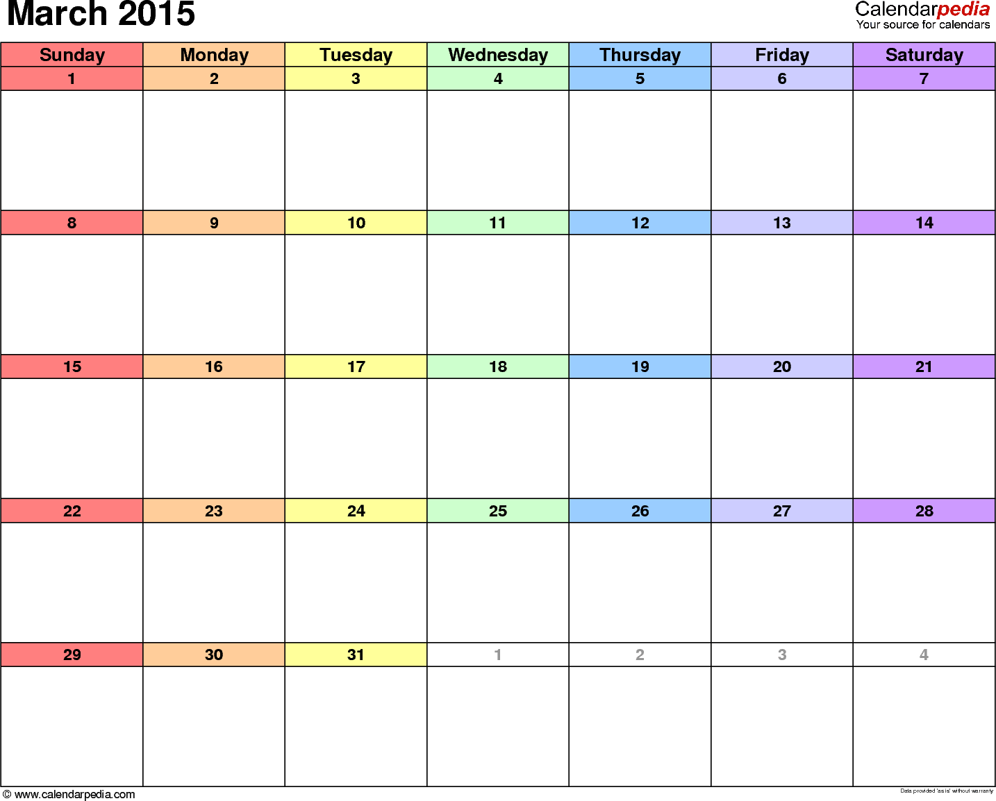 4 Images of March 2015 Calendar Printable Template