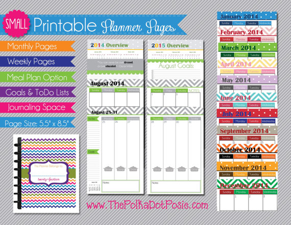 Small Printable Planner Pages