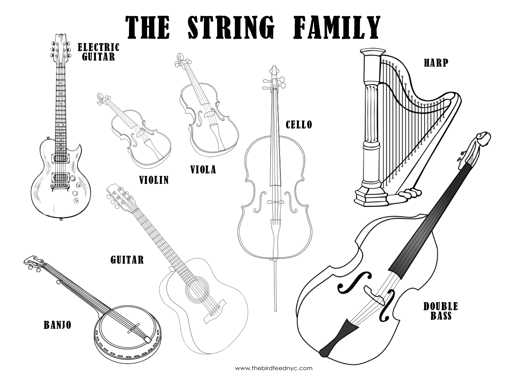 4 Images of Instrument Coloring Pages Printable