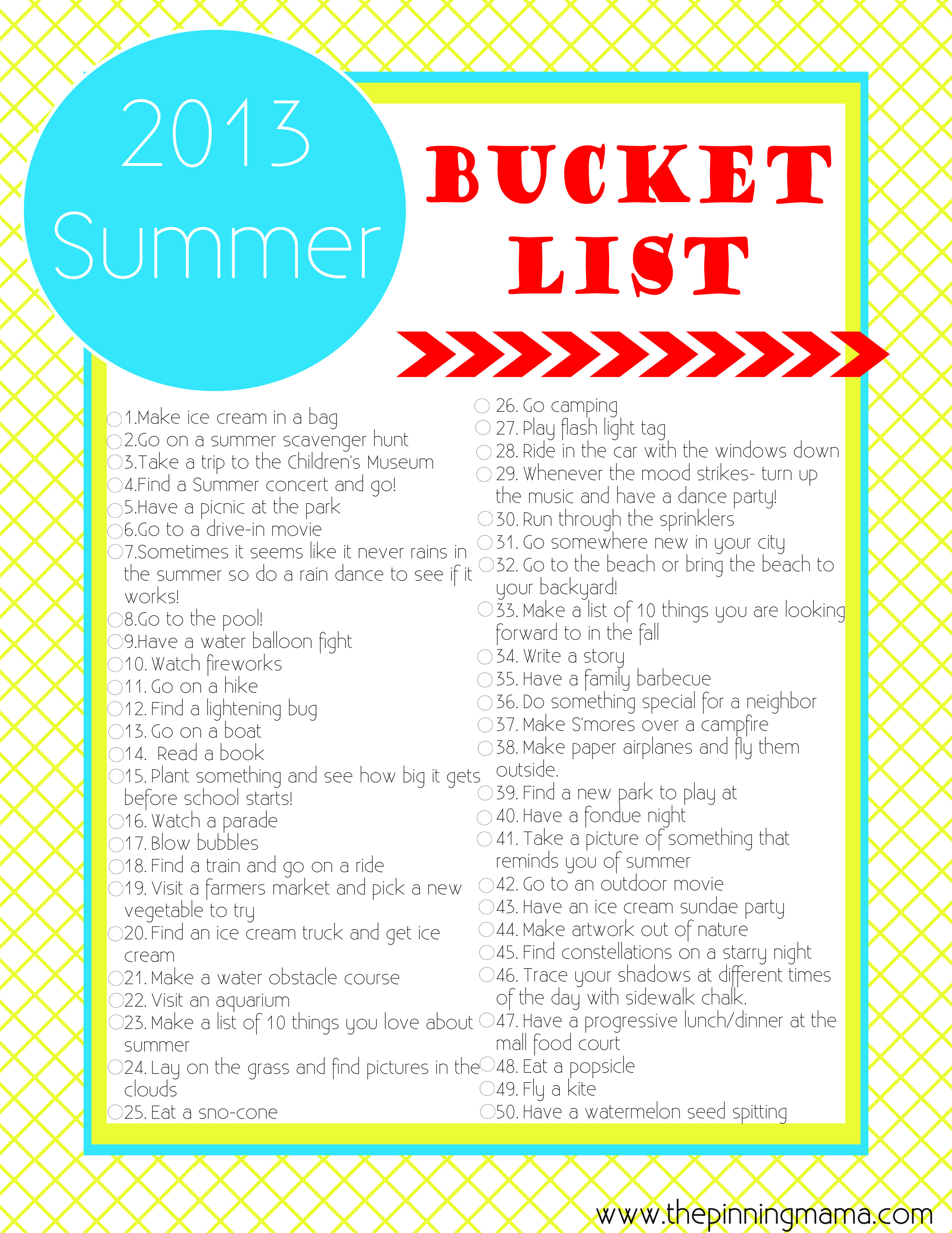 6 Images of Kids Summer Bucket List Printable