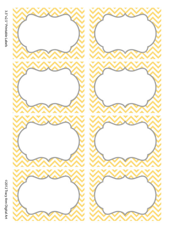 Yellow and Gray Chevron Labels Printable Free