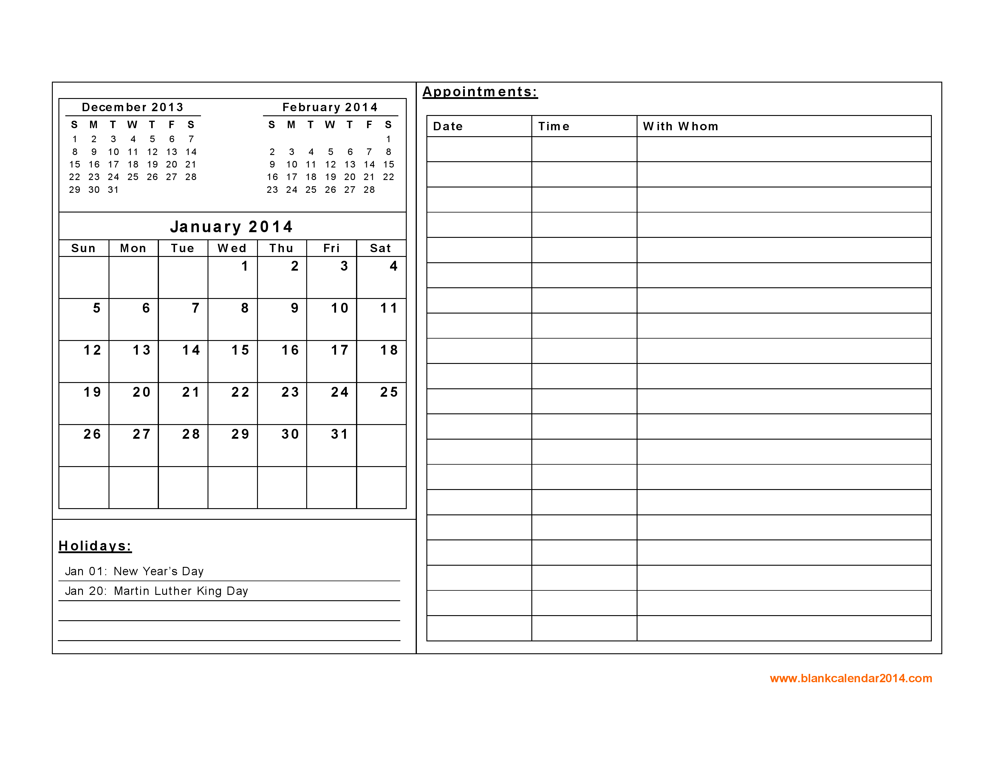 2014 Monthly Calendar Printables