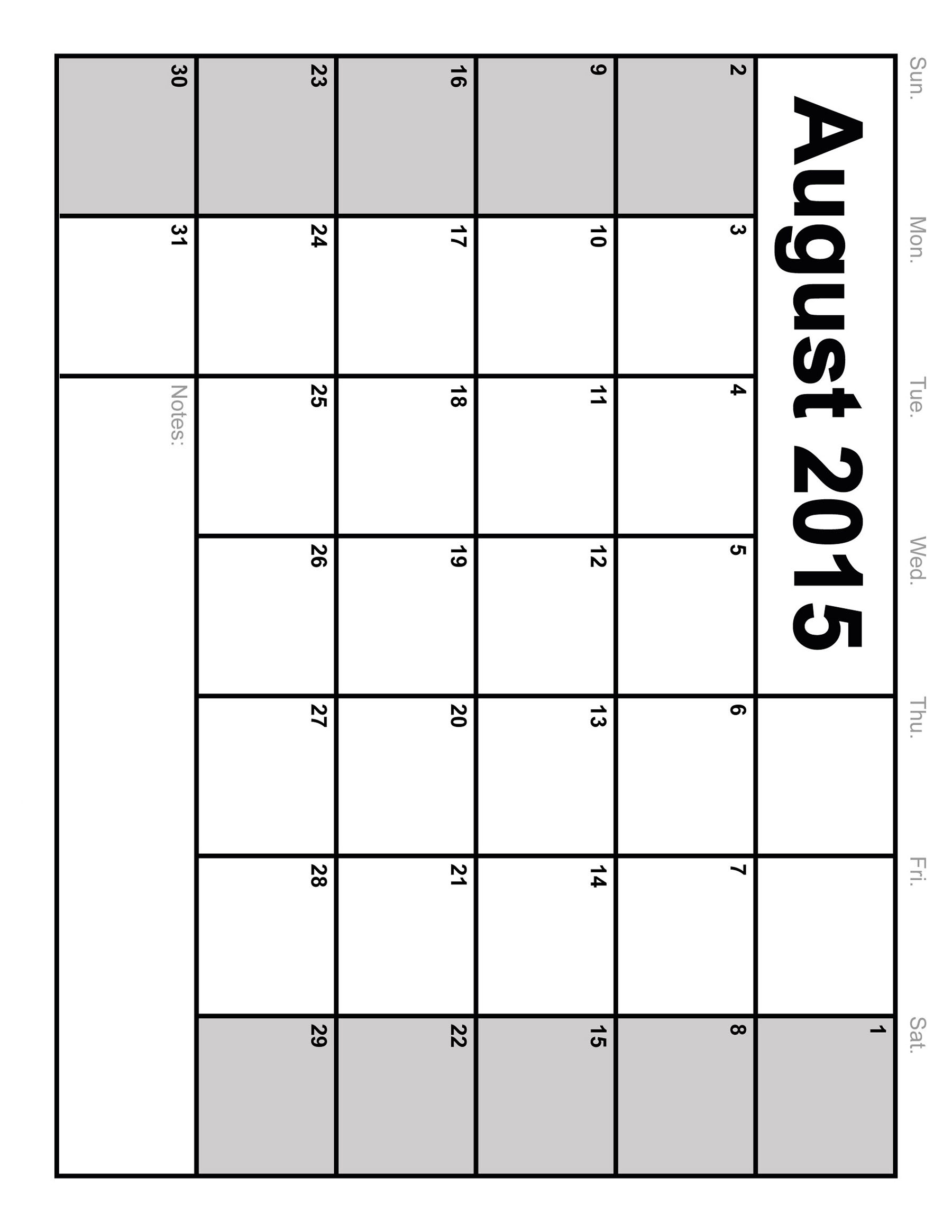 8 Images of Blank 2015 Calendar Printable