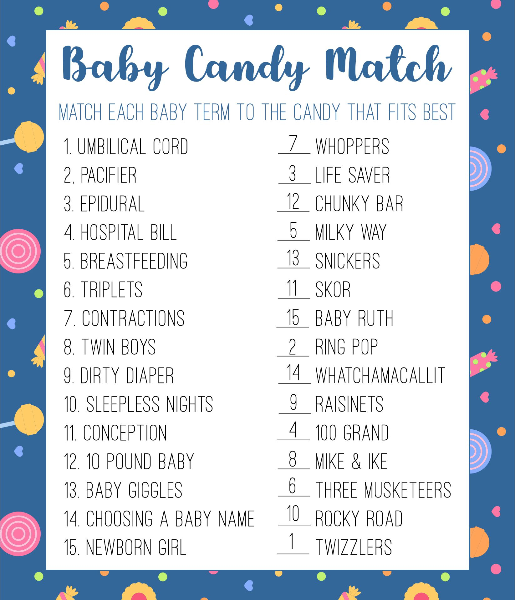 Baby Shower Candy Game Answers