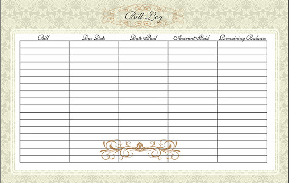 home finance bill organizer template - 6 best images of log printable bill paying printable