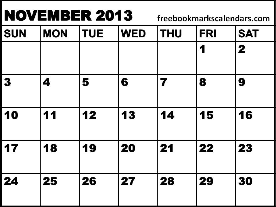 6 Images of Free Printable Calendars Nov 2013